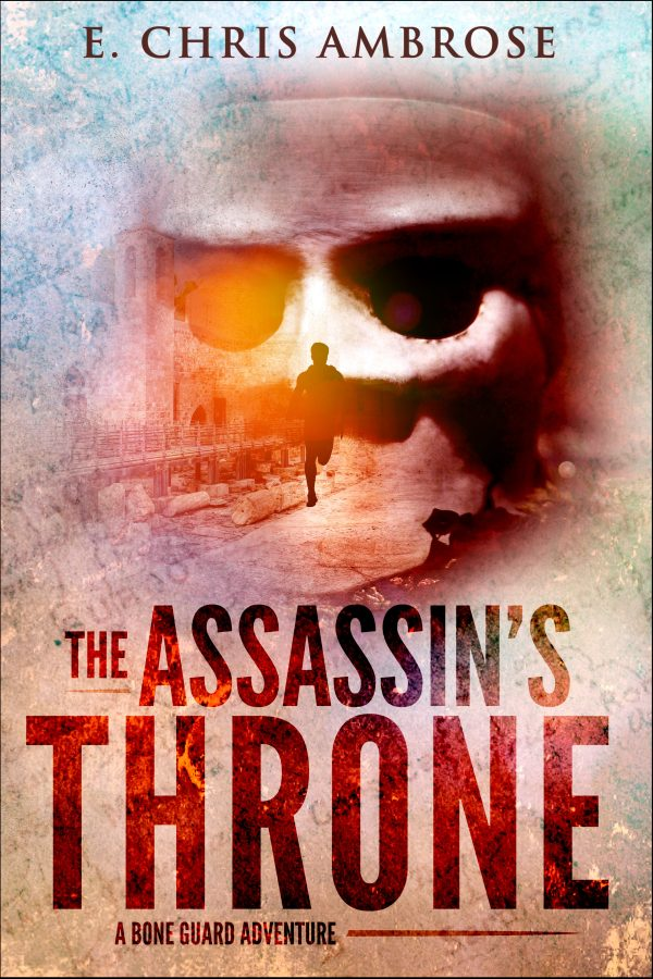 cover image for The assassin's throne shows a looming mask over a running man