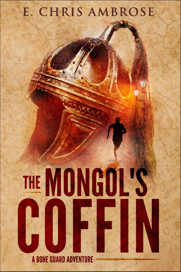 cover for The Mongol's Coffin includes a Mongolian helmet