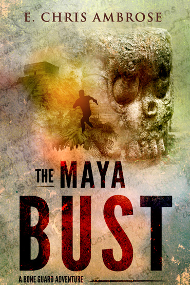 Maya Bust cover features a running figure near a pyramid and skull carving